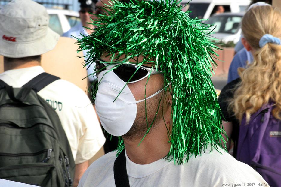 הפגנה נגד זיהום האוויר במפרץ חיפה ונגד מי שמיצר אותו. 2007, צומת וולקן